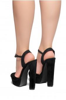 HerStyle CHASITY-Peep Toe Platform Heel  (Black)