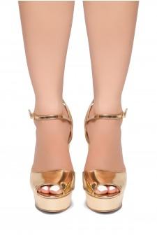 HerStyle CHASITY-Peep Toe Platform Heel  (Rose Gold)
