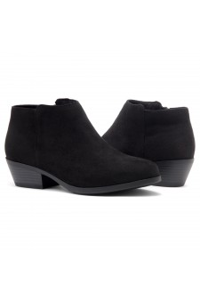 HerStyle Chatter- Low Stacked Heel Almond Toe Booties (Black)