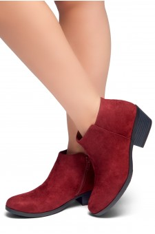 HerStyle Chatter- Low Stacked Heel Almond Toe Booties (Burgundy)
