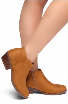 HerStyle Chatter- Low Stacked Heel Almond Toe Booties (Cognac)
