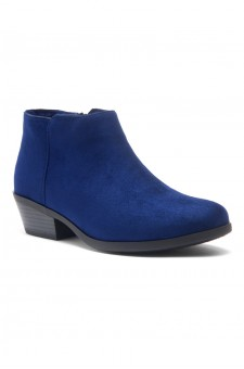 HerStyle Chatter- Low Stacked Heel Almond Toe Booties (Navy)