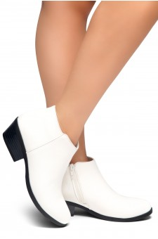 HerStyle Chatter- Low Stacked Heel Almond Toe Booties (White)