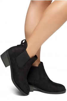 HerStyle Chelsea Booties-Casual Ankle Booties With Low Stacked Heel Almond Toe (Black)