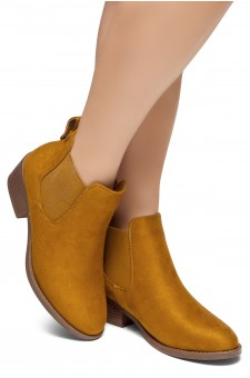 HerStyle Chelsea Booties-Casual Ankle Booties With Low Stacked Heel Almond Toe (Tan)