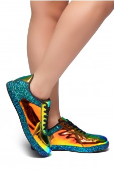 HerStyle City Glitz-Glitter sneaker with lace (Green)