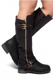 HerStyle City Runaway-Zipper Trim, Buckle detail Riding Knee High Boots (Black)