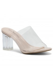 Shoe Land Cllaary-L Perspex heel, Slide On Sandals(2010/ClearNude)