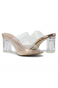 Shoe Land Cllaary-L Perspex heel, Slide On Sandals(2010/ClearRosegold)