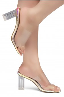 Shoe Land Cllaary-L Perspex heel, Slide On Sandals(2010 CLR/RAINBOWSNK)