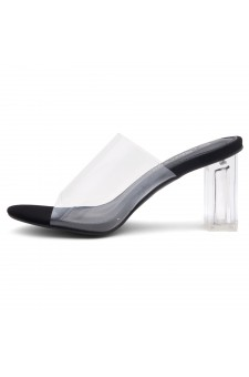 Shoe Land Cllaary-L Perspex heel, Slide On Sandals(2010 CLR/BLK)