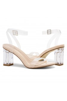 Shoe Land Cllaary-L Perspex heel, ankle strap with an adjustable buckle (Clear Nude)