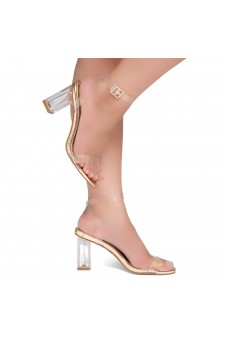 Shoe Land Cllaary-L Perspex heel, ankle strap with an adjustable buckle (Clear Rose Gold)