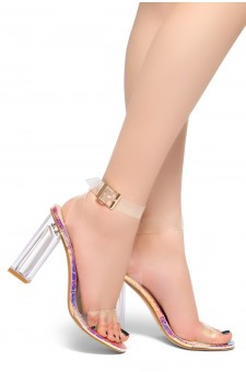 Shoe Land SL-Cllaary Perspex heel, ankle strap with an adjustable buckle (ClearRainbowsnk)