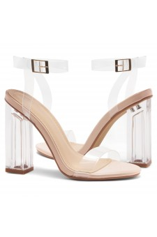 Shoe Land SL-Cllaary Perspex heel, ankle strap with an adjustable buckle (Clear Nude)