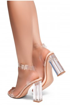 HerStyle Cllaary Perspex heel, ankle strap with an adjustable buckle (Clear Nude)