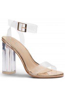 Shoe Land SL-Cllaary Perspex heel, ankle strap with an adjustable buckle (Clear Rose Gold)