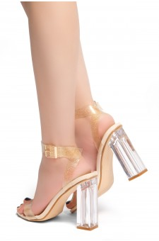 HerStyle Cllaary Perspex heel, ankle strap with an adjustable buckle (ClearGlitterNude)