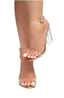 HerStyle Cllaary Perspex heel, ankle strap with an adjustable buckle (Clear Rose Gold)