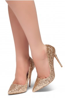 HerStyle COCKTAIL BLING- Glitter Details, Pointed Toe, Stiletto Heel (RoseGold Glitter)