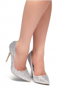 HerStyle COCKTAIL BLING- Glitter Details, Pointed Toe, Stiletto Heel (Silver Glitter)