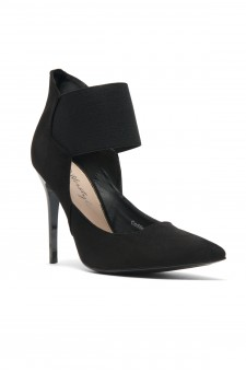 HerStyle Coddee Faux Suede ankle with elasticated strap Pointy Toe Stiletto Pump (Black)