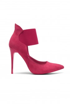 HerStyle Coddee Faux Suede ankle with elasticated strap Pointy Toe Stiletto Pump (Fuchsia)