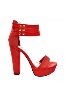Women's Red Manmade Coodex 4-inch Heeled Sandals with Studded Straps