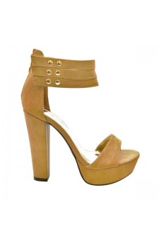 Women's Tan Manmade Coodex 4-inch Heeled Sandals with Studded Straps