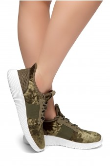 HerStyle Cool Girl-Velvet Lace up Rigged Sneaker (Olive)