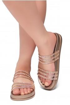 HerStyle Corey-Open Toe Open Back Jewelled Embellishment Slide Sandal (RoseGold)
