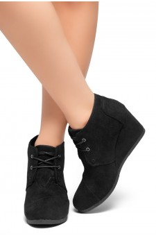 HerStyle Corlina-Round toe, wedge heel booties (Black)