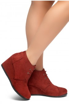 HerStyle Corlina-Round toe, wedge heel booties (Burgundy)