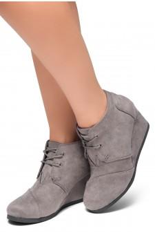 HerStyle Corlina-Round toe, wedge heel booties (Grey)