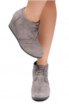 HerStyle Corlina-Round toe, wedge heel booties (Grey)