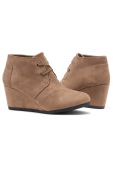 HerStyle Corlina-Round toe, wedge heel booties (Khaki)