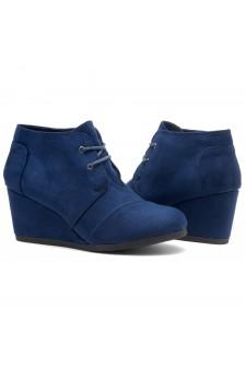 HerStyle Corlina-Round toe, wedge heel booties (Navy)