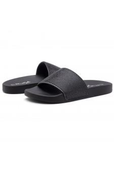 Shoe Land Cosmic Open Toe Jewelled Embellishment Slide Sandal (2020BlackBlack)