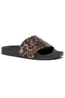 Shoe Land Cosmic Open Toe Jewelled Embellishment Slide Sandal (Leopard)