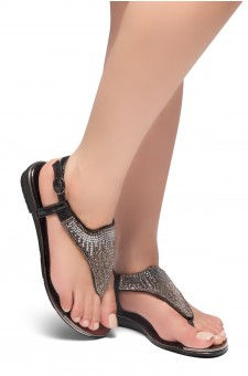 HerStyle COSMIC LOVE-Rhinestone Details Vamp, Open Toe, Flat Sandals (Black)