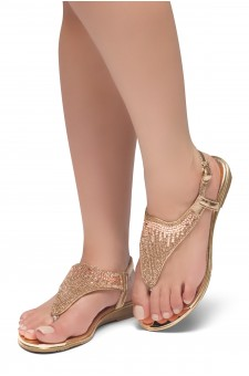 HerStyle COSMIC LOVE-Rhinestone Details Vamp, Open Toe, Flat Sandals (RoseGold)