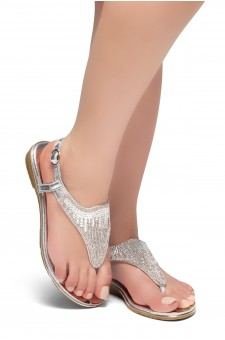 HerStyle COSMIC LOVE-Rhinestone Details Vamp, Open Toe, Flat Sandals (Silver)