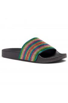 Shoe Land Cosmic Open Toe Jewelled Embellishment Slide Sandal (Rainbow)