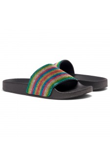 Shoe Land Cosmic Open Toe Jewelled Embellishment Slide Sandal (Rainbow)