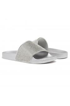 HerStyle Cosmic Open Toe Jewelled Embellishment Slide Sandal (Silver)