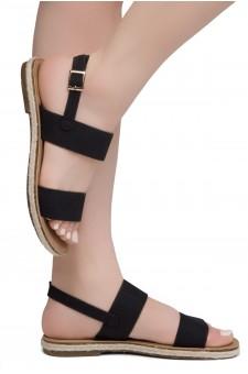 Shoe Land CRALESSA Women's Open Toe Ankle Strap Platform Wedge Sandals (Black)