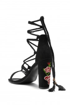 HerStyle Cremeno Floral Embroidered Lace up sandal (Black)