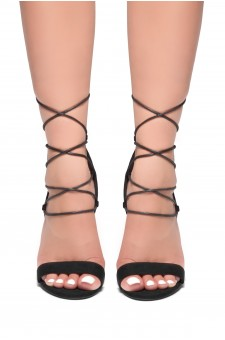 HerStyle Crossing Glam-Perspex heel, front lace-up (Black)