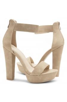 HerStyle Cutesy-Ankle Strap Chunky Platform Heel (Nude)