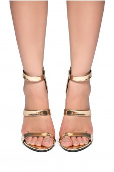 HerStyle Daainna-Perspex heel with glitter (Rose Gold)